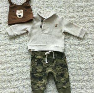 GAP Baby | Camo pants+shawl colar sweatshir outfit